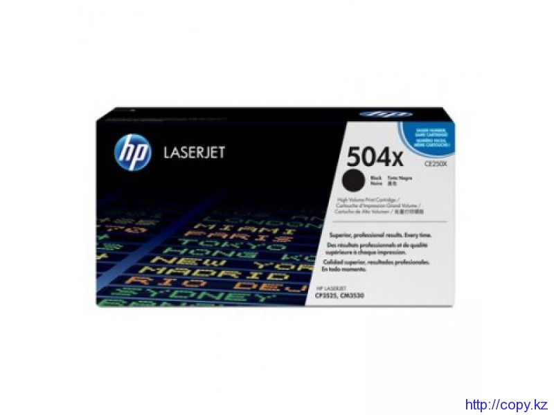 HP CE250X Black Print Cartridge for Color LaserJet CM3530/fs/CP3525dn/n/x, up to 7000 pages