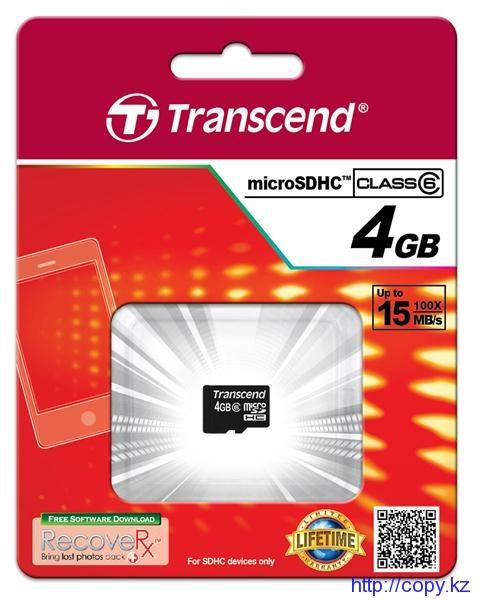Карта памяти 4 Gb , TS4GUSDHC6  Micro SDHC  Caer Class 6, 4Gb